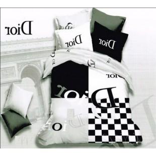 Белое с черным постельное белье с буквами Диор сатин