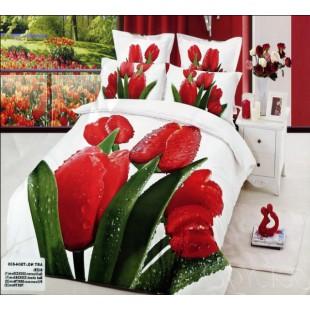 Постельное белье с красными тюльпанами 3D сатин