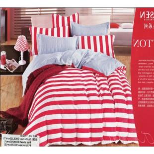 Постельное белье в красную и белую полоску премиум качества