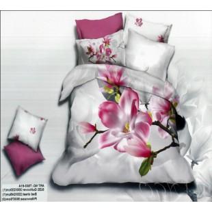 Комплект постельного белья белый с лиловым с рисунком цветы