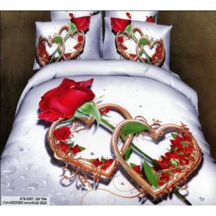 Постельное белье для молодоженов с сердцами и розой сатин