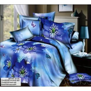Постельное белье с синими цветами в васильковой гамме сатин