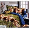 Синее постельное белье с тиграми на траве