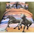 Сатиновый комплект белья - пара лошадей на закате