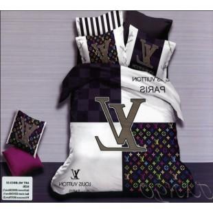 Постельное белье Louis Vuitton в черно-белом цвете сатин