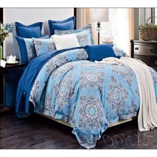 Комплект постельного белья в синей гамме с абстрактным рисунком
