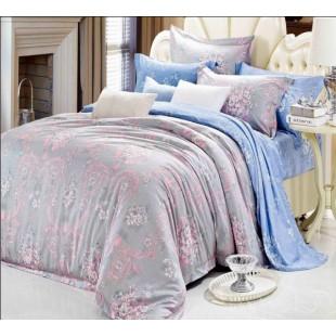 Постельное белье в пастельной гамме - серо-голубое