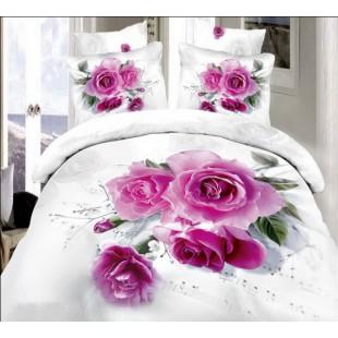Постельное белье белого цвета с нотами и розами сатин