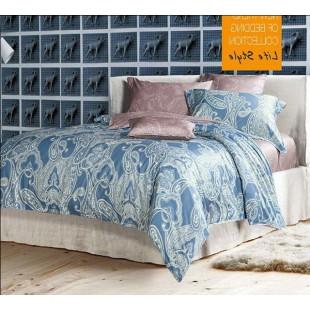 Двухстороннее постельное белье с абстракцией с сине-розовых тонах сатин