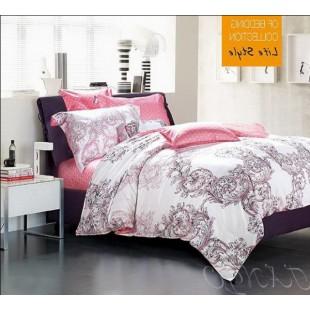 Постельное белье розовое с белым сатин