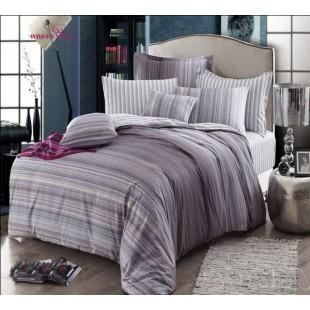 Комплект оригинального постельного белья серого цвета с полосками