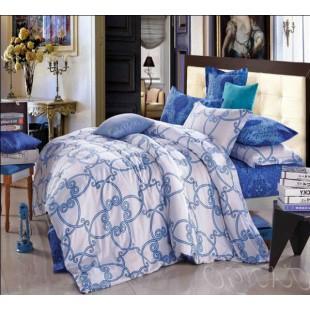 Постельное белье бело-синей гаммы с рисунком абстракции