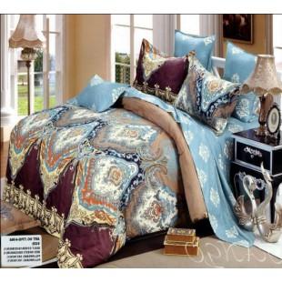 Постельное белье голубого цвета с восточным рисунком твил