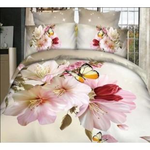 Постельное белье с 3D цветами и бабочками сатин