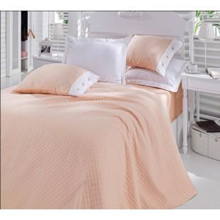 Персиковый элитный набор покрывала с постельным бельем