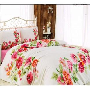 Красивое постельное белье из ранфорса розово-белого цвета с цветами
