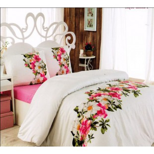 Постельное белье с бело-розовым цветочным рисунком ранфорс