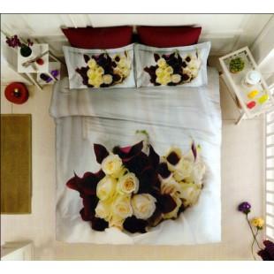 Антиаллергенное постельное белье с белыми и бордовыми розами бамбук