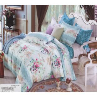 Постельное белье бирюзового цвета с цветочным рисунком твил