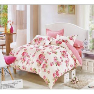 Постельное белье розового и белого цветов твил