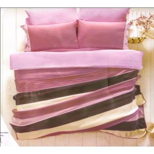 Набор постельного белья с вязаным покрывалом в розовой гамме