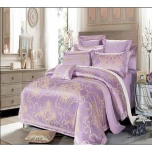 Постельное белье светло-фиолетового цвета с узором жаккард