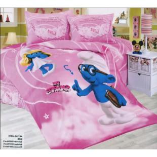 Детское постельное белье Смурфики розовое из сатина