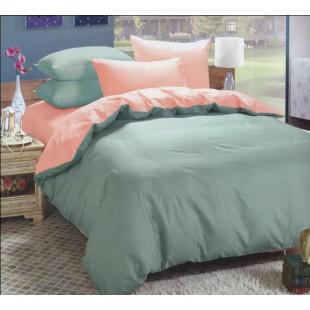 Двухцветное постельное белье бирюзовое с персиковым сатин