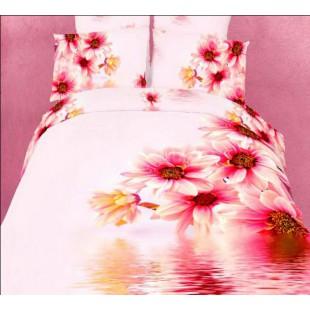 Постельное белье розово-персикового цвета с 3D хризантемами сатин