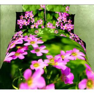 Постельное белье с 3D цветами на фоне зелени сатин