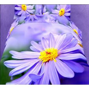 Постельное белье лавандового цвета с 3D цветком сатин