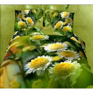 Постельное белье зеленого цвета с одуванчиками сатин