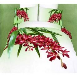 Светлое сатиновое белье с малиновыми цветами 3D