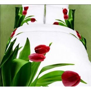 Белое постельное белье с красными тюльпанами сатин