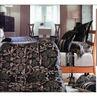 Постельное белье темно-синего цвета с бежевым узором жаккард