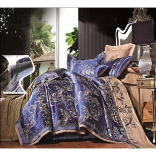 Жаккардовое атласное постельное белье синее с коричневым