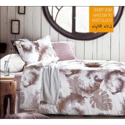 Комплект постельного белья с рисунком перья в светлой гамме