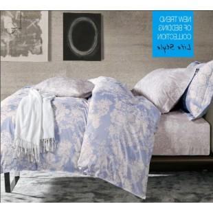 Светлое постельное белье с мелким принтом сатин