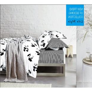 Постельное белье в черно-белую полоску с пандами сатин