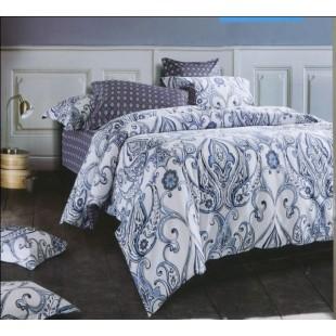 Постельное белье в серо-синем цвете с орнаментом сатин