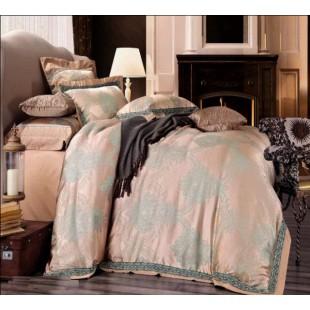 Постельное белье светло-коричневого цвета с декором жаккард