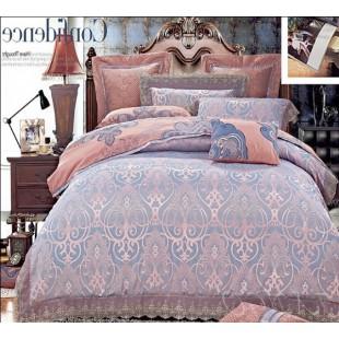 Жаккардовое постельное белье в розово-фиолетовой гамме