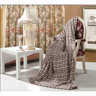 Плед  Fendi бежево-коричневого цвета микрофибра