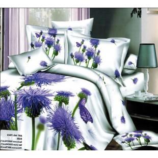 Постельное белье белого цвета с сиреневыми цветами