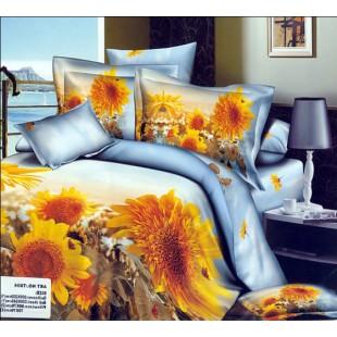 Сатиновое постельное белье с желтыми цветами - подсолнухами