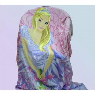 Детский плед с принцессой в голубом платье - розовый