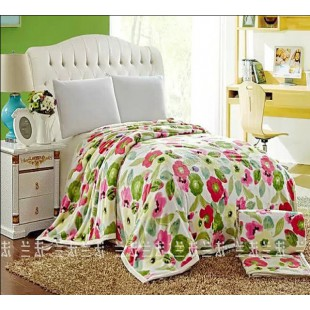 Плед с розовыми и зелеными цветами Акварель