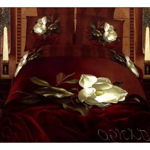 Насыщенное бордо с белой чайной розой - 3D сатин