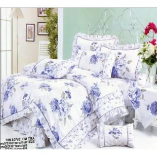 Постельное белье из сатина белого цвета с нежными синими цветами