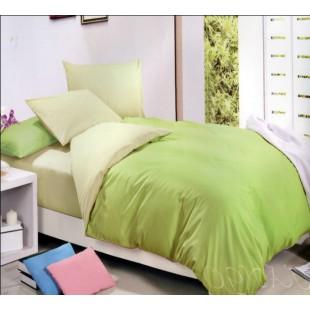 Двухцветный сатин нежная зелень и светлый лимон